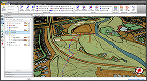 Define bank stations, flow lengths, ineffective flow areas, conveyance obstructions, levees and other riverine modeling data from CAD and GIS data. Assign cross section Manning's roughness using GIS polygons or orthophoto base map image processing.